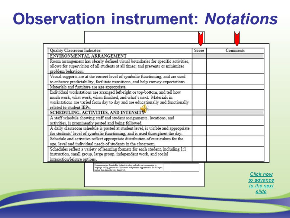 Observation instrument: Notations