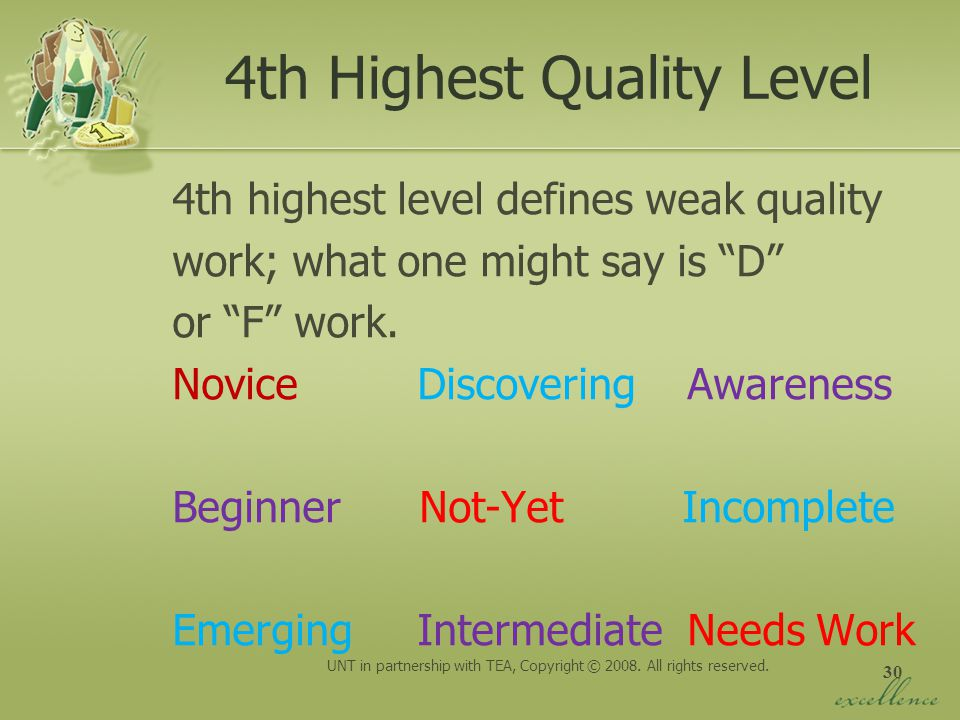 4th Highest Quality Level