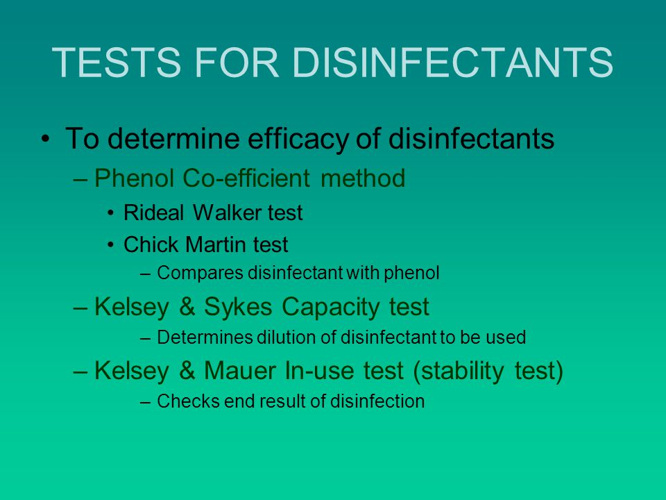 TESTS FOR DISINFECTANTS