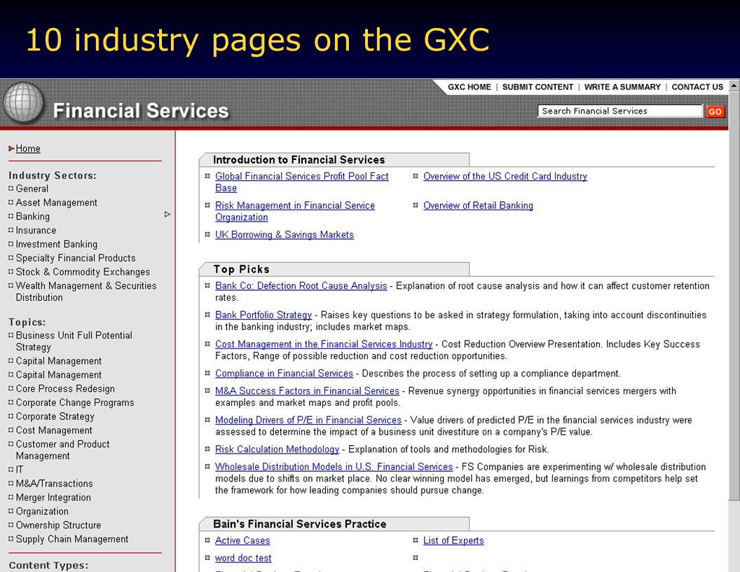 10 industry pages on the GXC