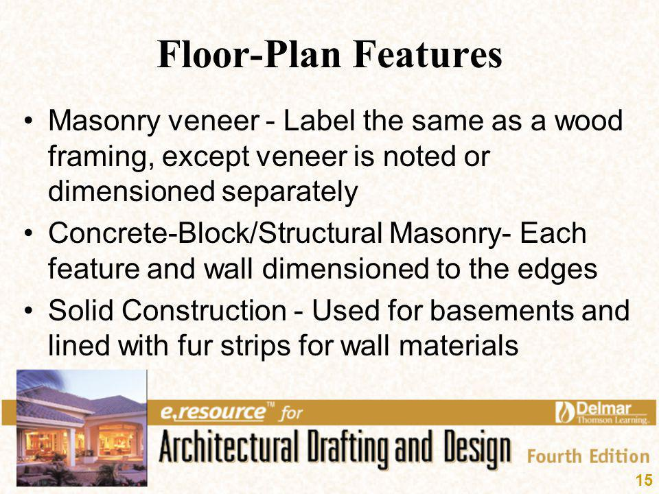 Floor-Plan Features Masonry veneer - Label the same as a wood framing, except veneer is noted or dimensioned separately.