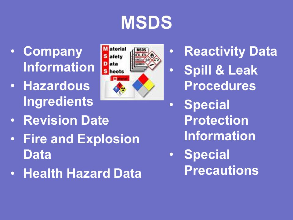 MSDS Company Information Hazardous Ingredients Revision Date