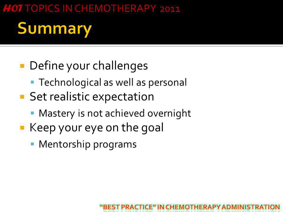 Summary Define your challenges Set realistic expectation