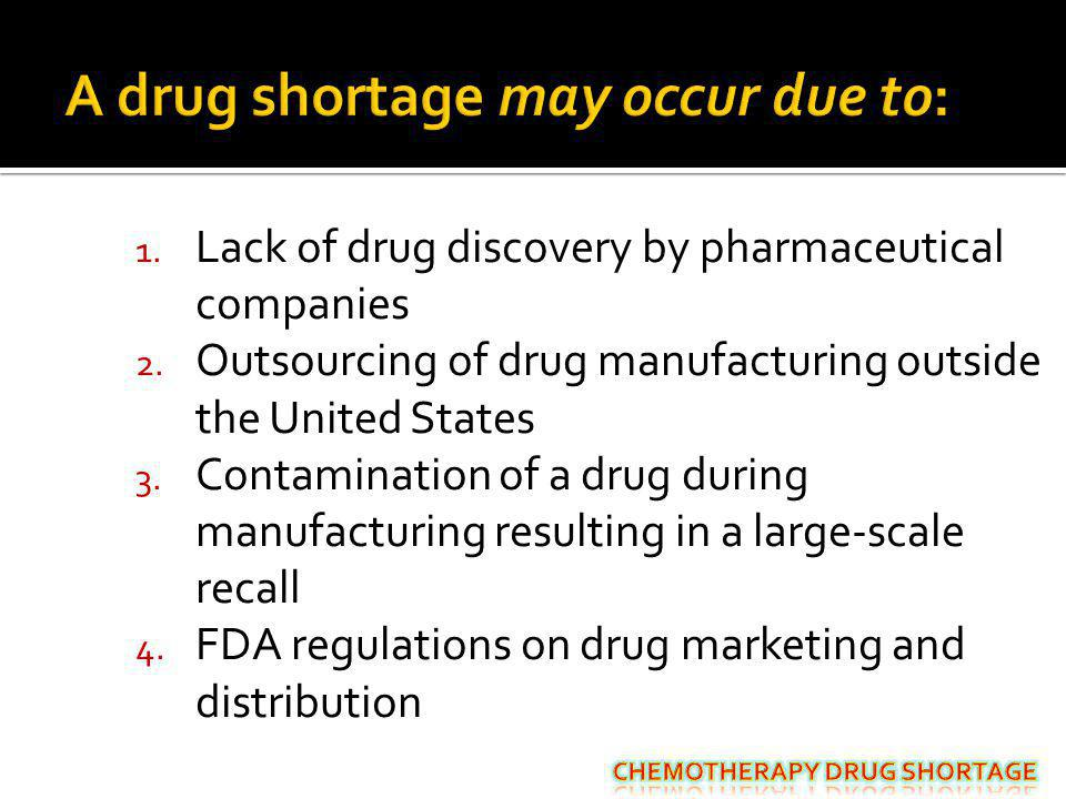 A drug shortage may occur due to: