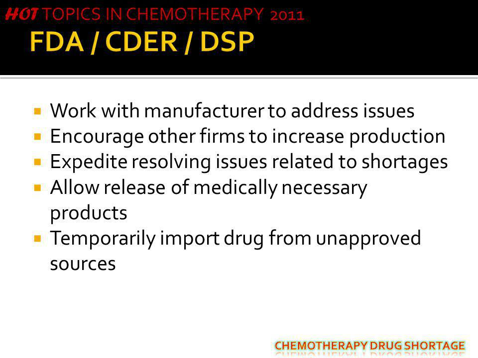 FDA / CDER / DSP Work with manufacturer to address issues