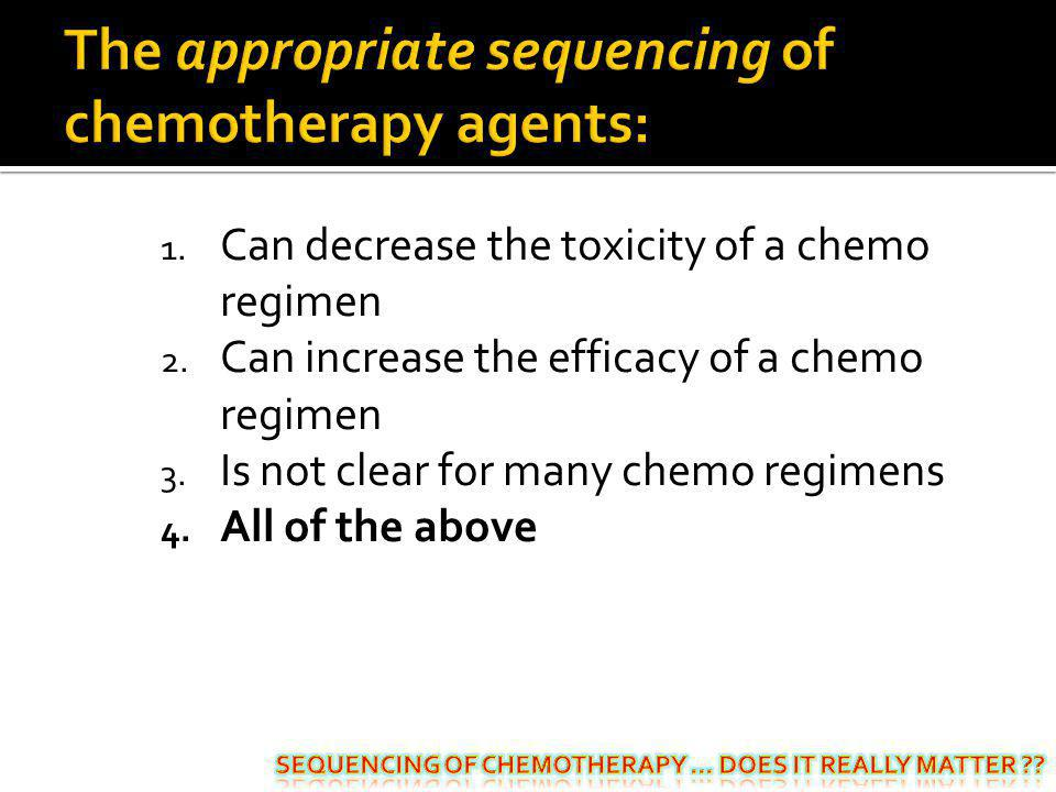 The appropriate sequencing of chemotherapy agents:
