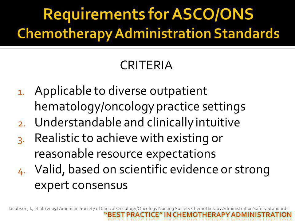 Requirements for ASCO/ONS Chemotherapy Administration Standards