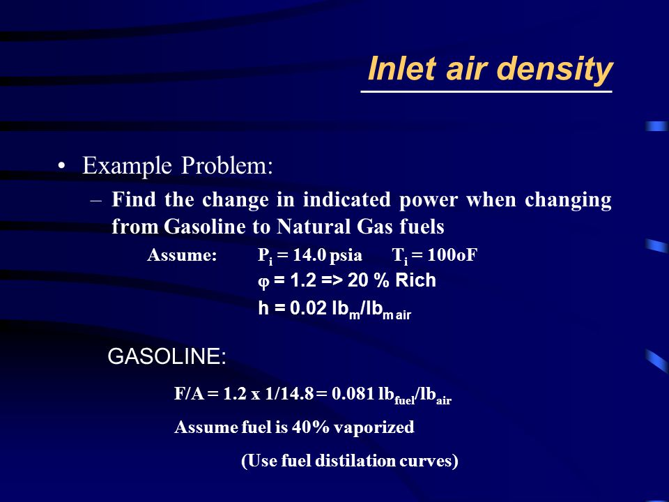 Inlet air density Example Problem: