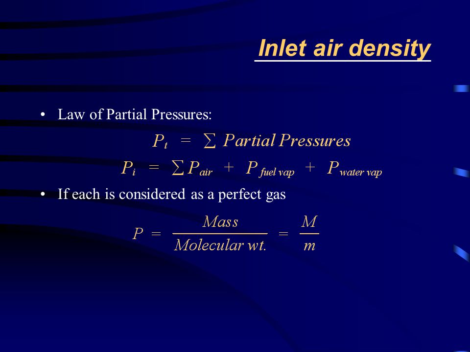 Inlet air density Law of Partial Pressures: