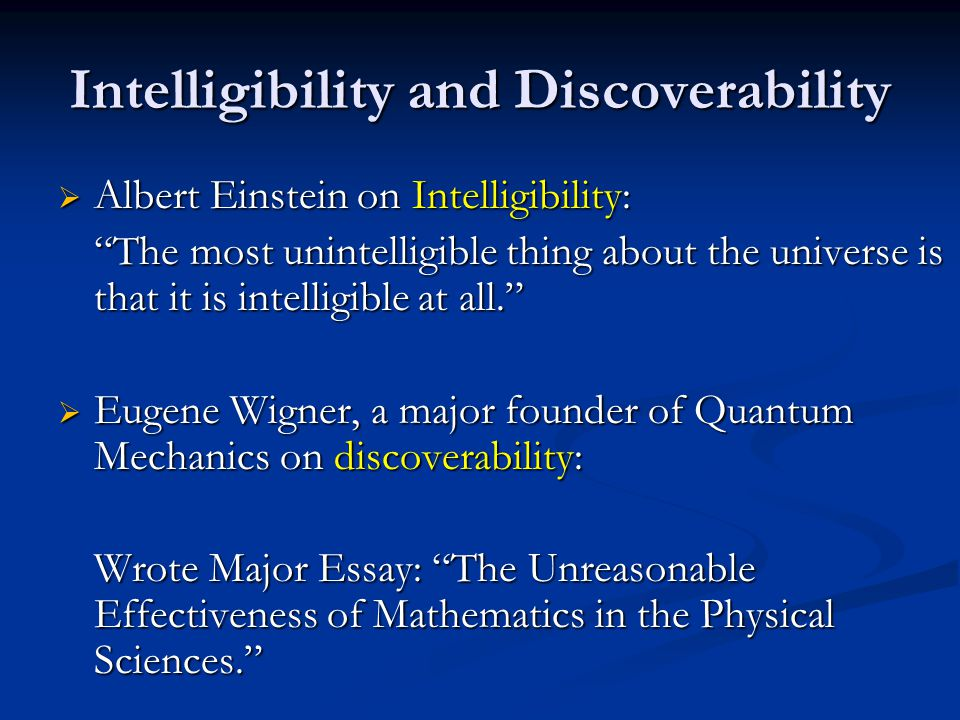 Intelligibility and Discoverability