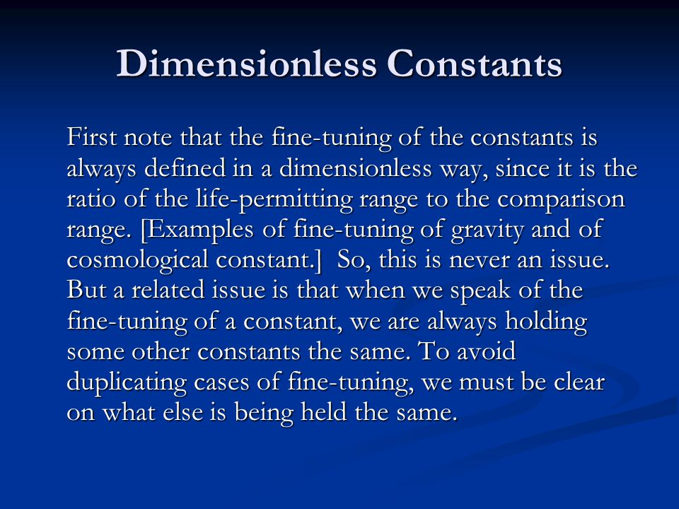 Dimensionless Constants