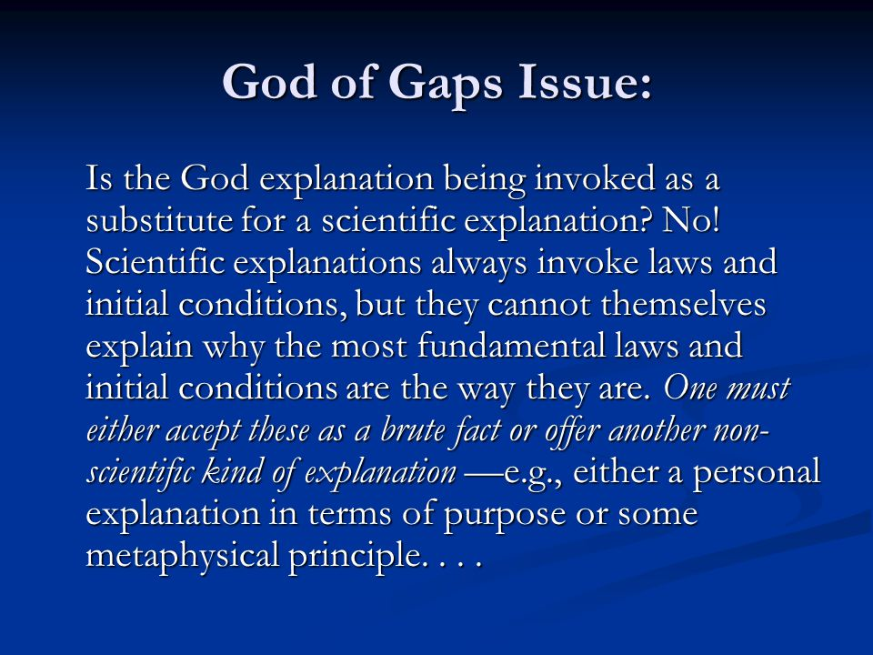 God of Gaps Issue: