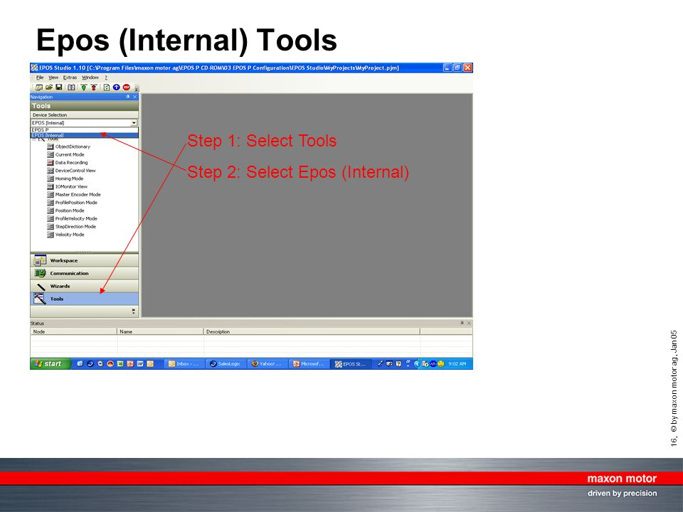 Epos (Internal) Tools Step 1: Select Tools