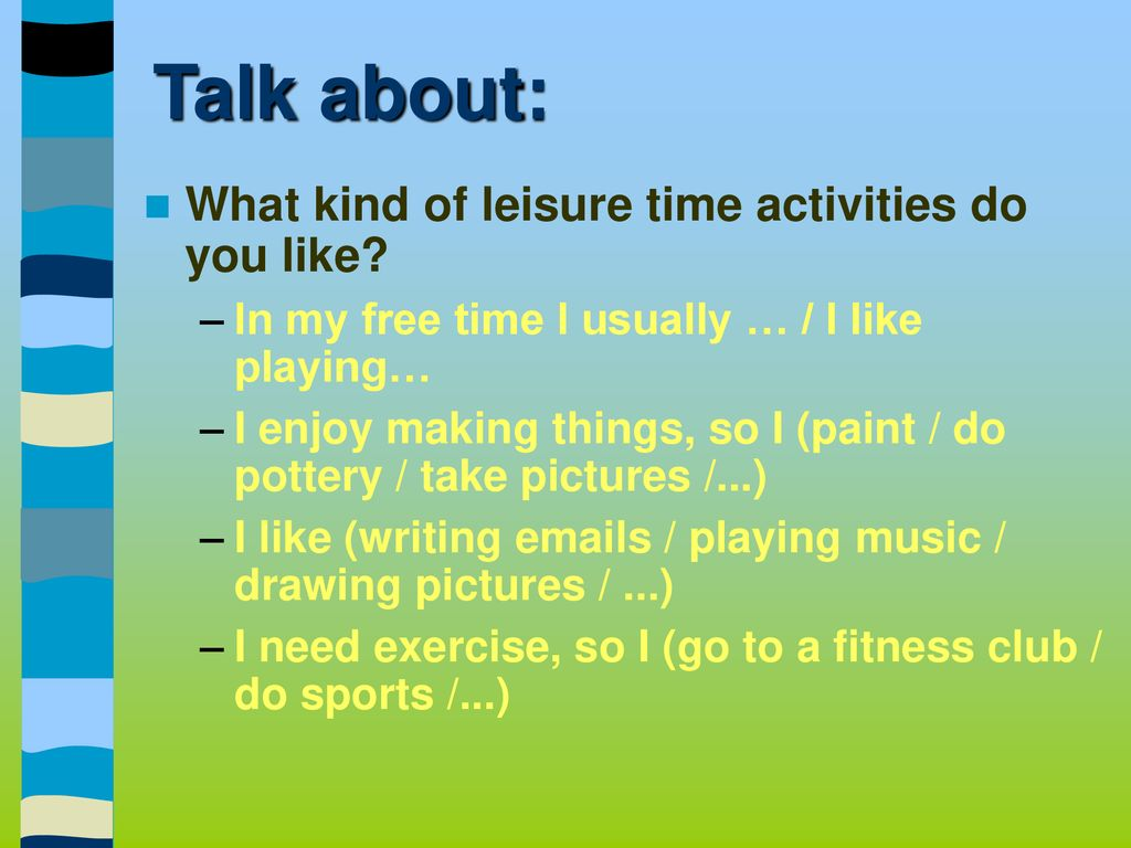 free time activities paragraph