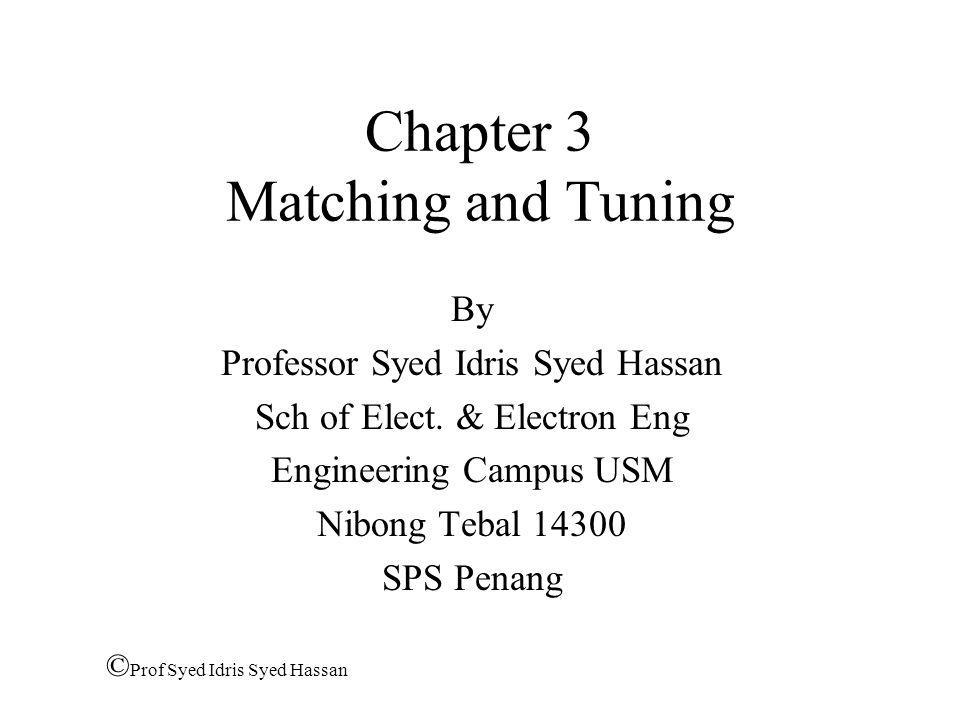 Chapter 3 Matching and Tuning