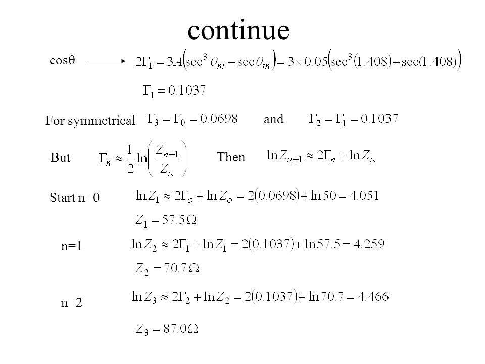 continue cosq For symmetrical and But Then Start n=0 n=1 n=2