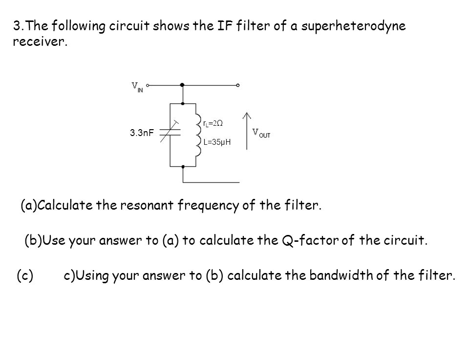(a)Calculate the resonant frequency of the filter.