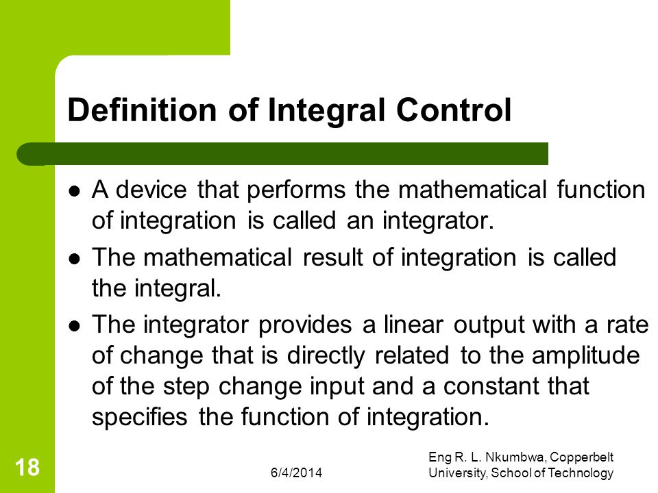 Definition of Integral Control