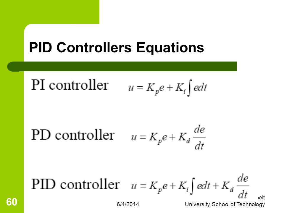 PID Controllers Equations