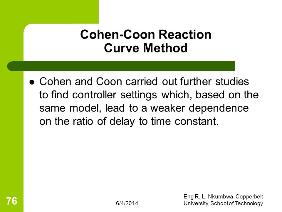 Cohen-Coon Reaction Curve Method