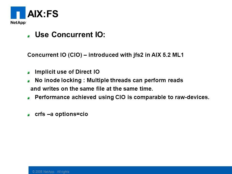 AIX:FS Use Concurrent IO: