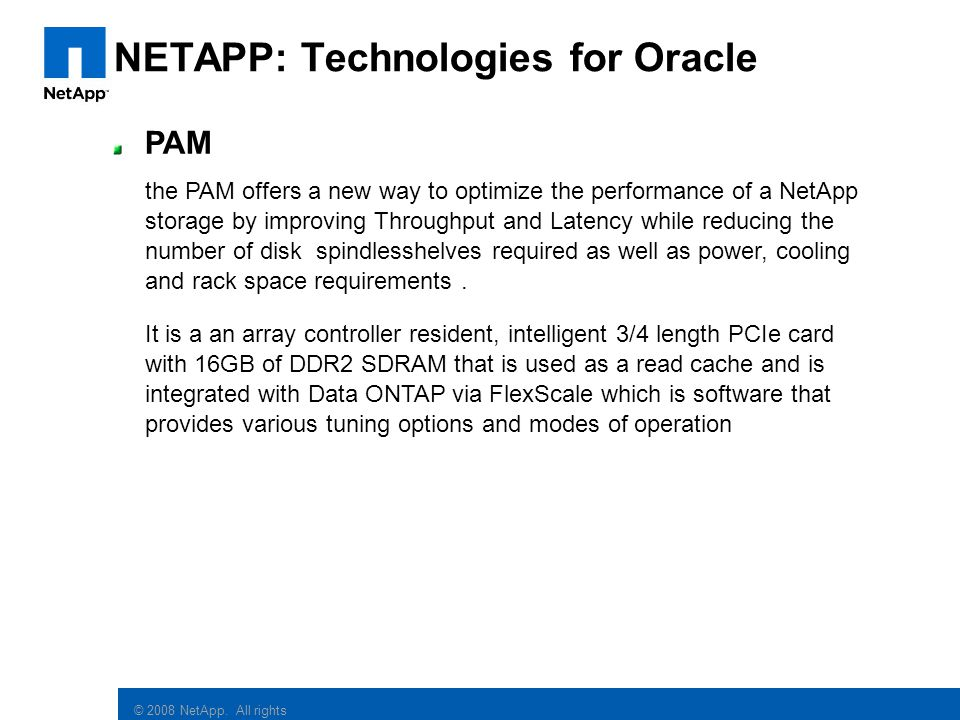 NETAPP: Technologies for Oracle