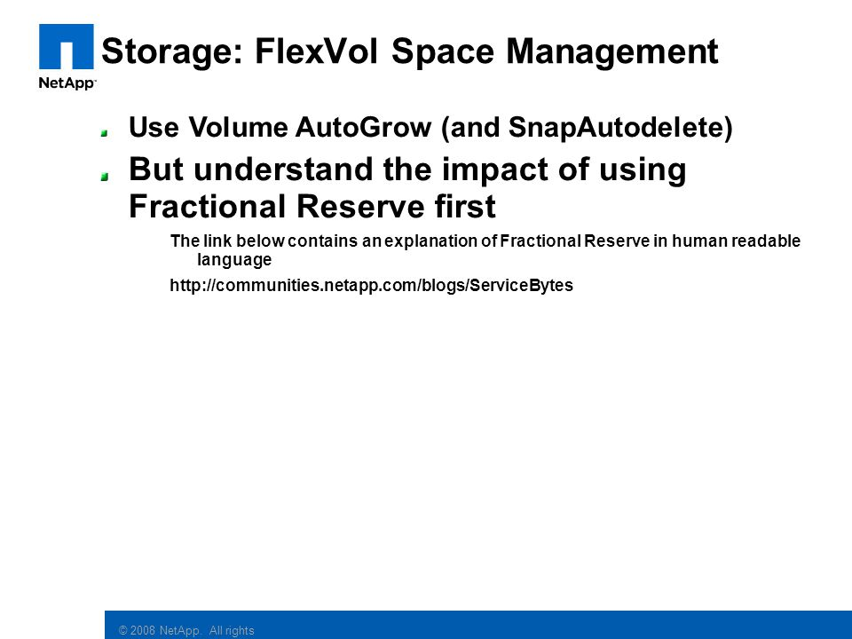 Storage: FlexVol Space Management