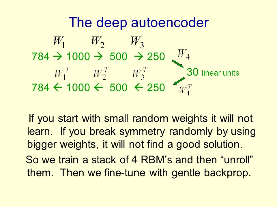 The deep autoencoder 784  1000  500  linear units
