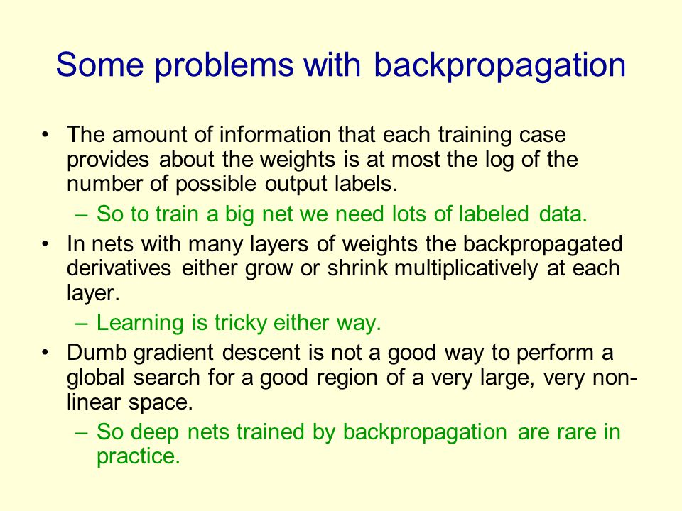 Some problems with backpropagation