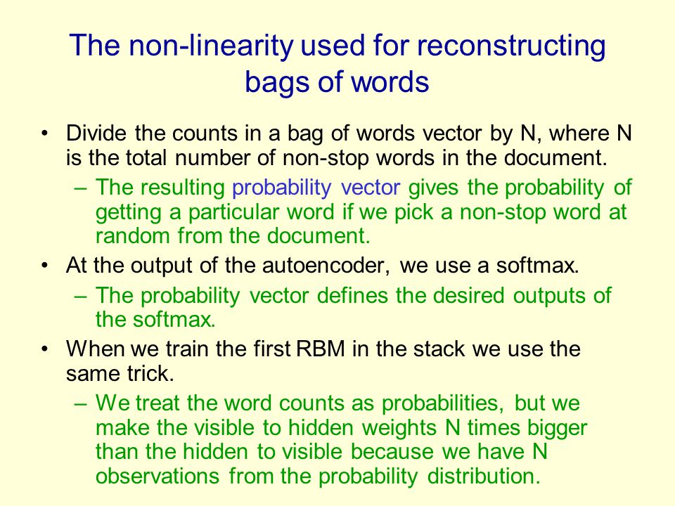 The non-linearity used for reconstructing bags of words