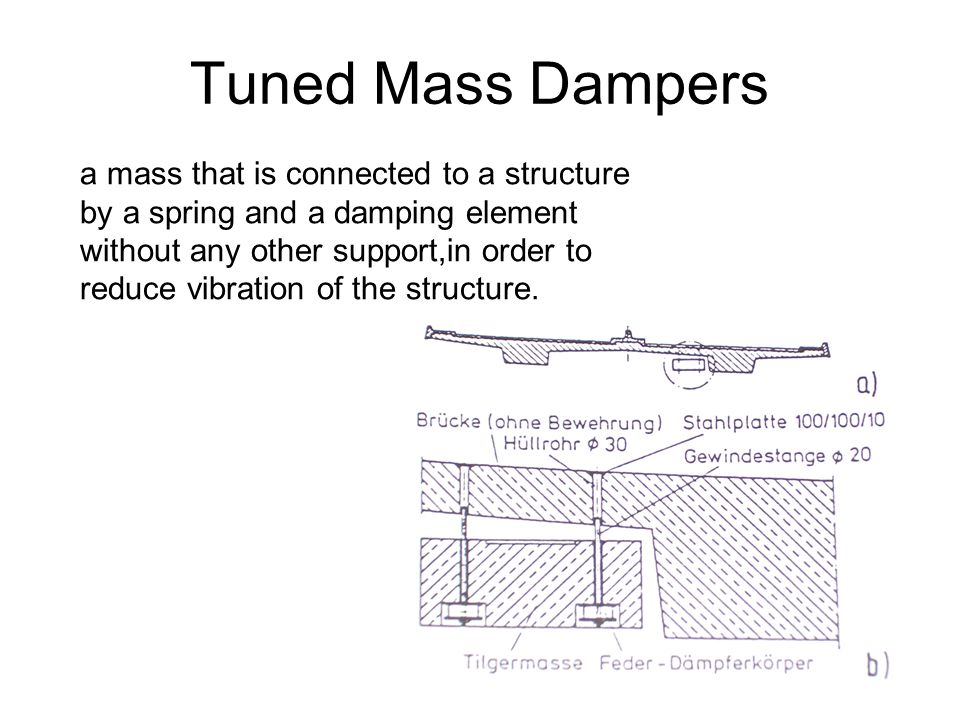 Tuned Mass Dampers a mass that is connected to a structure
