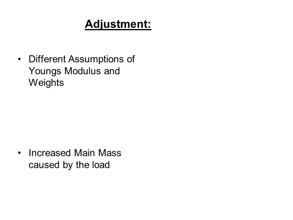 Adjustment: Different Assumptions of Youngs Modulus and Weights