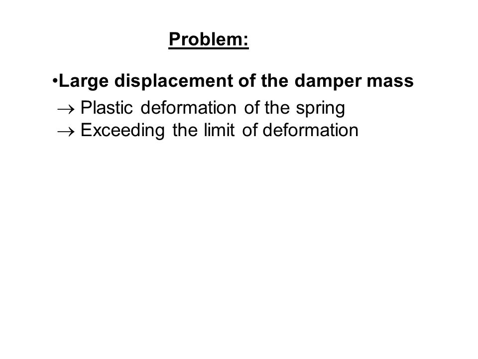 Problem: Large displacement of the damper mass.  Plastic deformation of the spring.