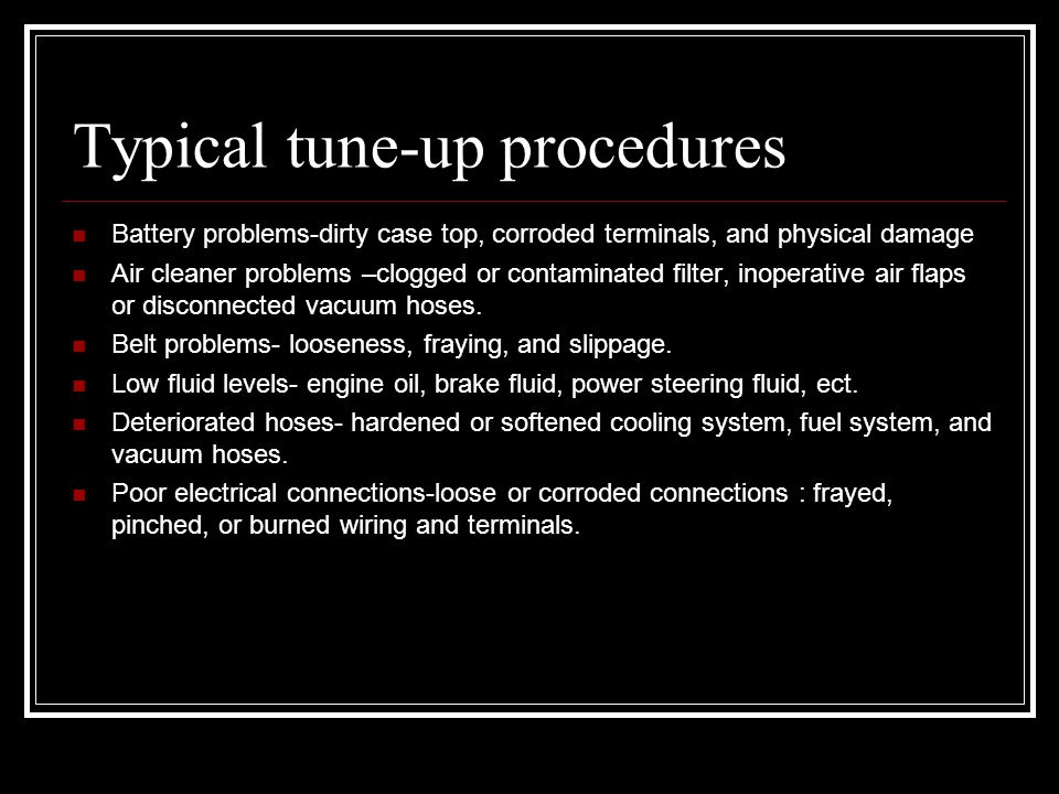 Typical tune-up procedures