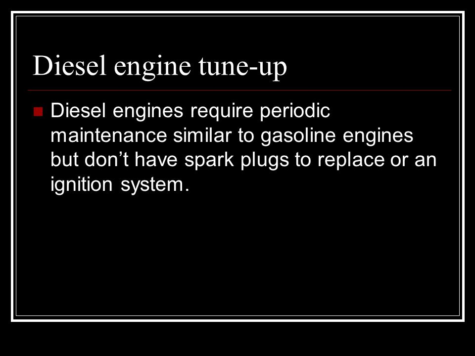 Diesel engine tune-up