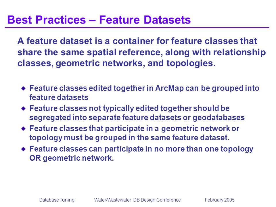 Best Practices – Feature Datasets