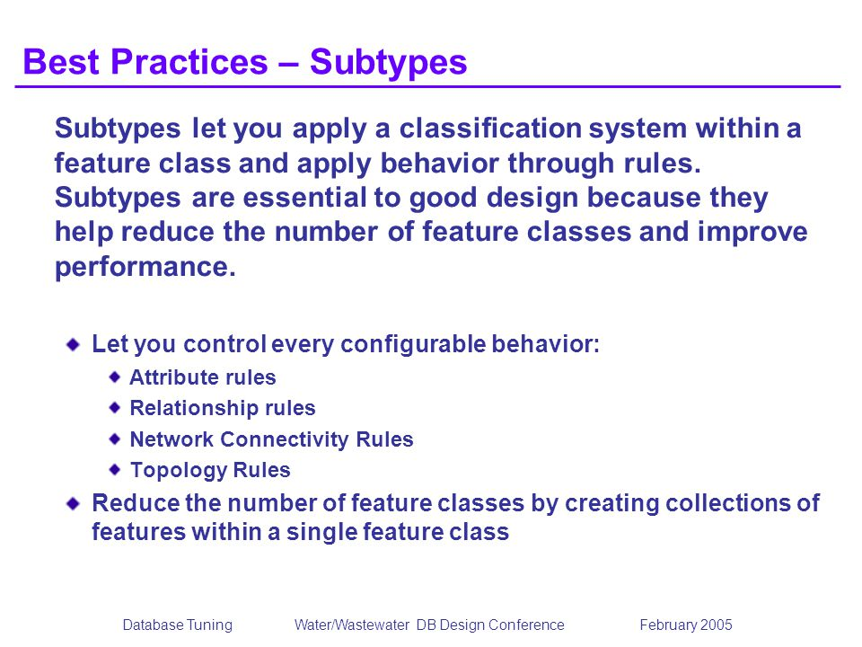 Best Practices – Subtypes