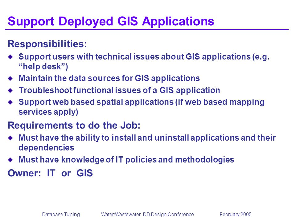 Support Deployed GIS Applications
