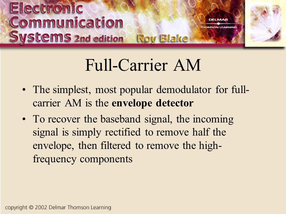 Full-Carrier AM The simplest, most popular demodulator for full-carrier AM is the envelope detector.
