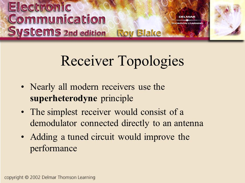 Receiver Topologies Nearly all modern receivers use the superheterodyne principle.