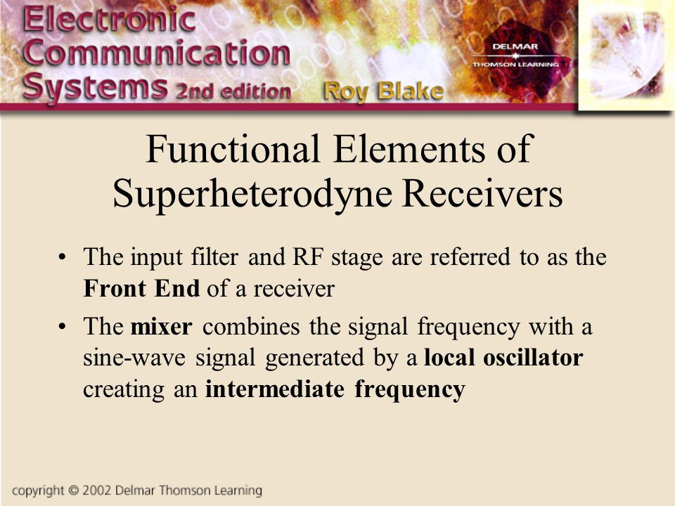 Functional Elements of Superheterodyne Receivers
