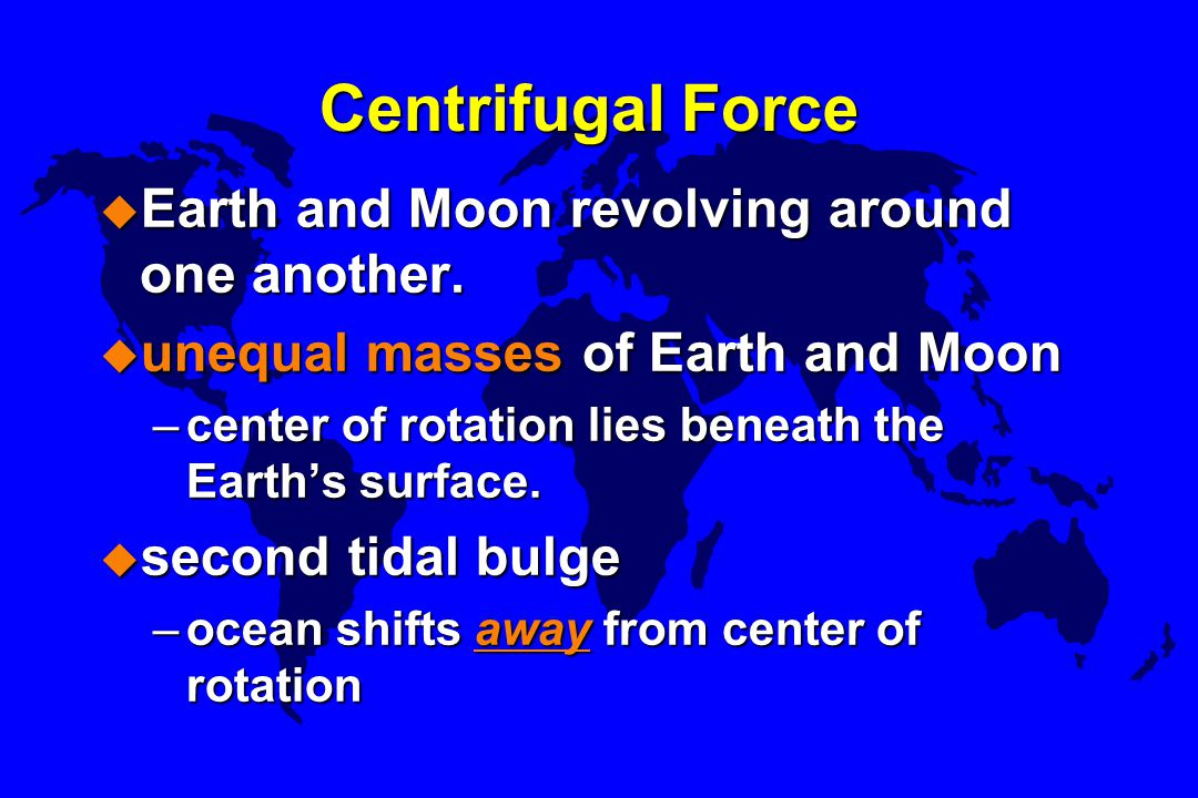 Centrifugal Force Earth and Moon revolving around one another.