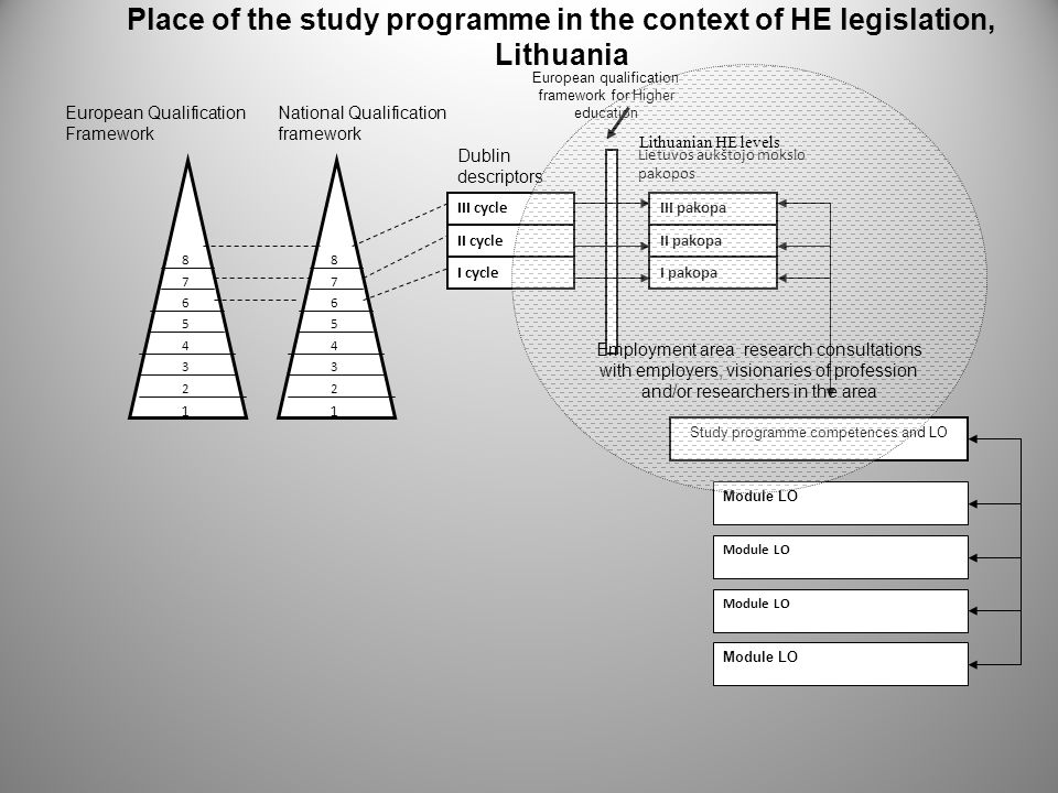 Place of the study programme in the context of HE legislation, Lithuania