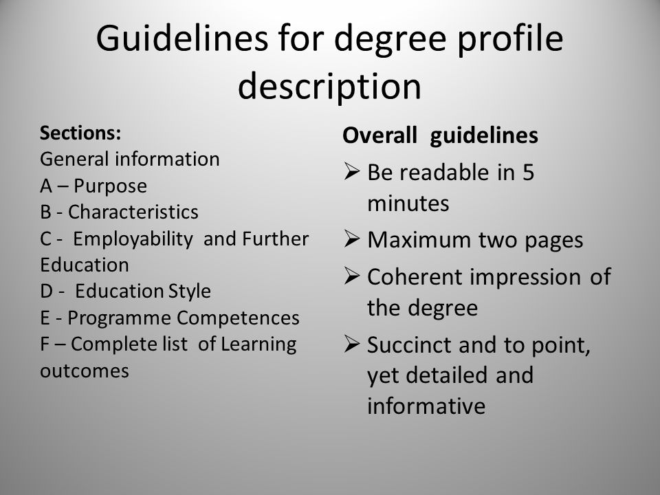 Guidelines for degree profile description