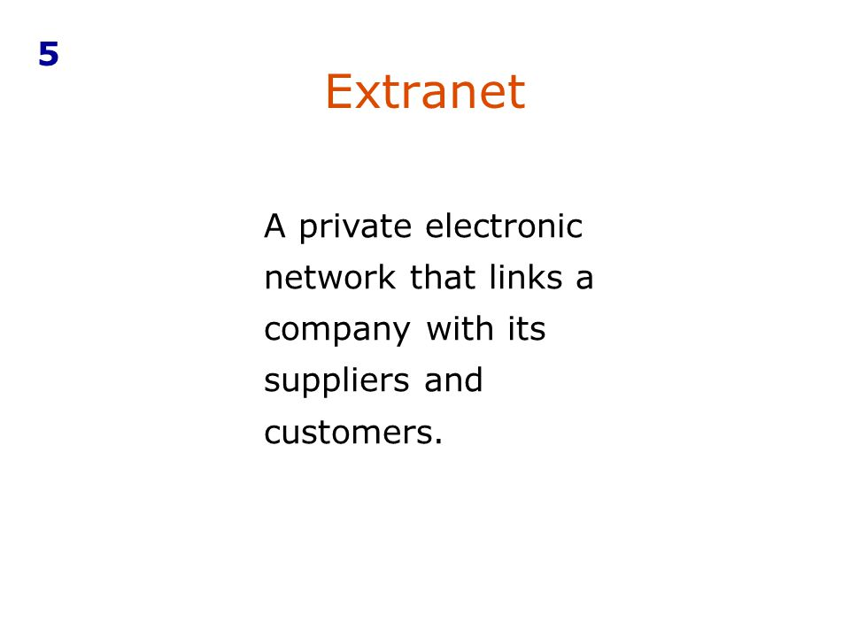 5 Extranet A private electronic network that links a company with its suppliers and customers.