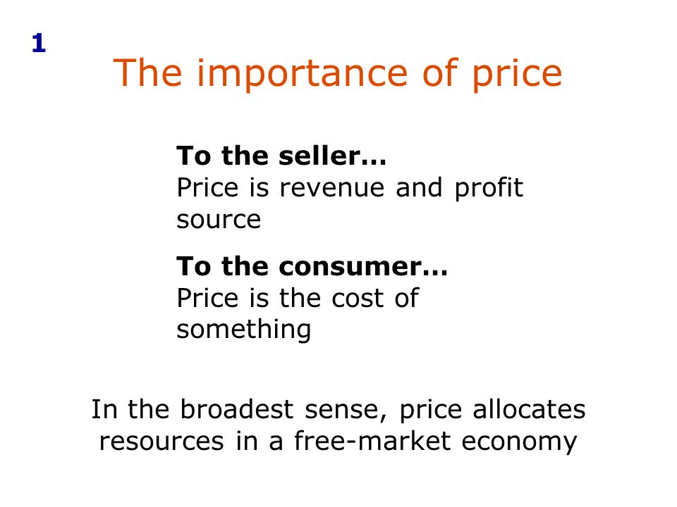 The importance of price