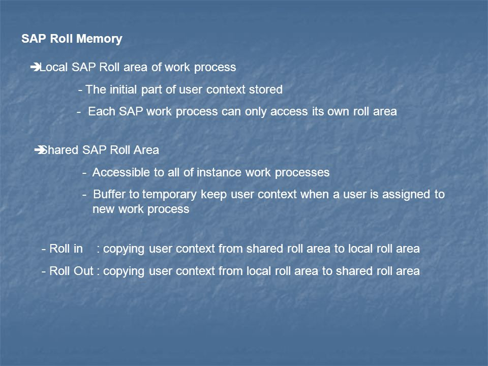 SAP Roll Memory Local SAP Roll area of work process. - The initial part of user context stored.