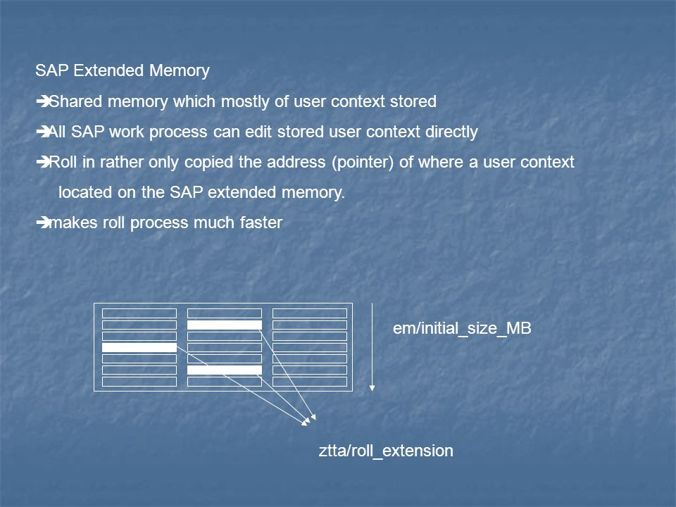 SAP Extended Memory Shared memory which mostly of user context stored. All SAP work process can edit stored user context directly.
