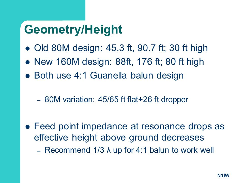 Geometry/Height Old 80M design: 45.3 ft, 90.7 ft; 30 ft high