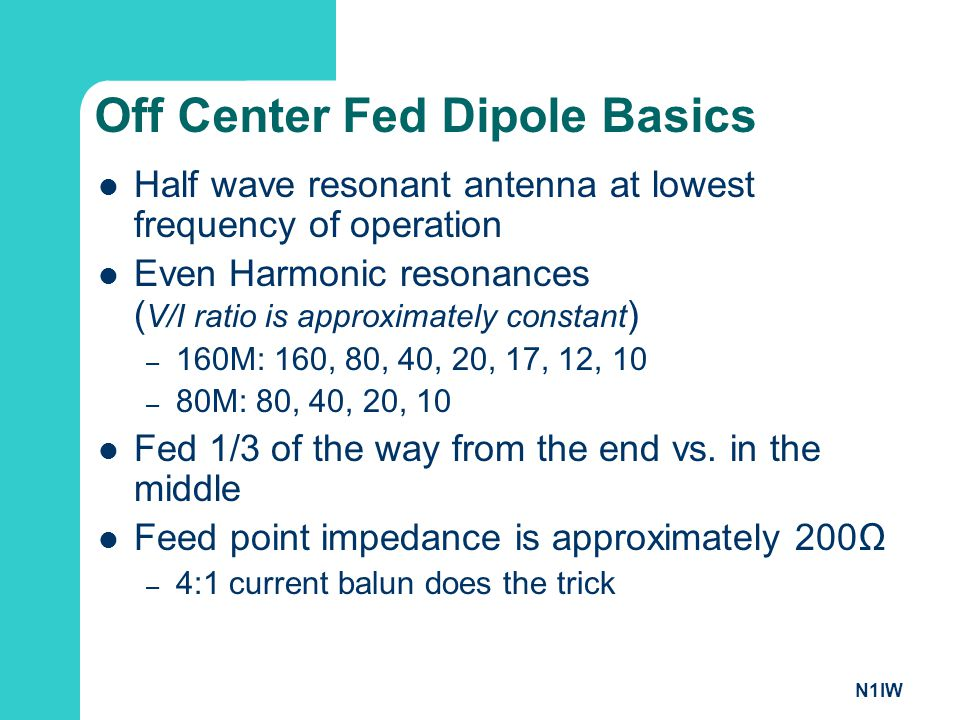 Off Center Fed Dipole Basics
